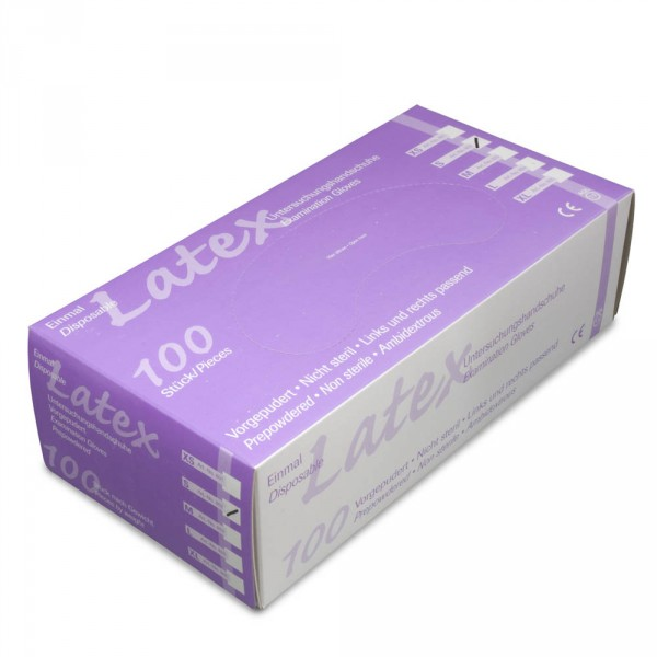 Latex gloves, slightly powdered, size XS, 100 pieces