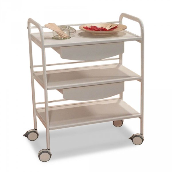 equipment trolley CabiLine, 3 tiers, 600mm width, white