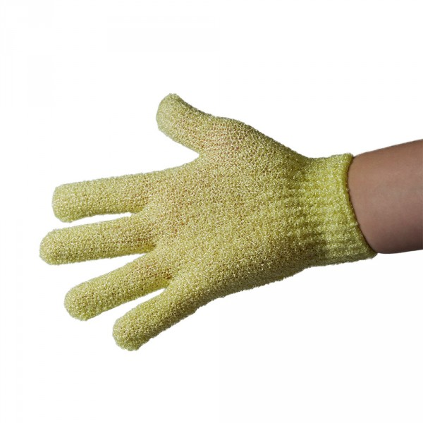 Peeling glove, synthetic fibre