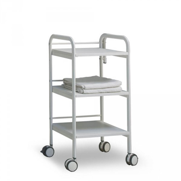 Equipment trolley CabiLine Small, with 3 tiers, 400 mm width, in white