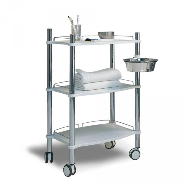 Equipment trolley LamicaDecor with 3 white trays and chrome tubing