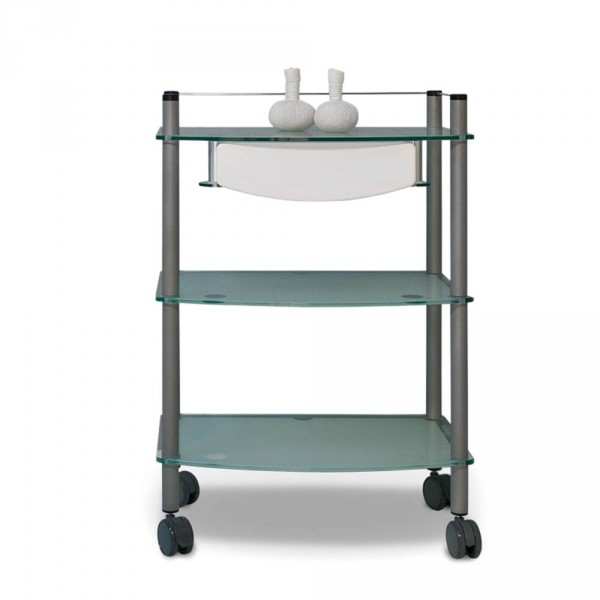 Lamica Glass Décor equipment trolley, with 3 glass trays and titanium tubing