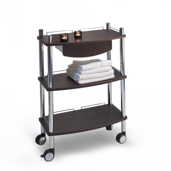 Lamica wood decor equipment trolley, with 3 tiers, wenge, with chrome tubing