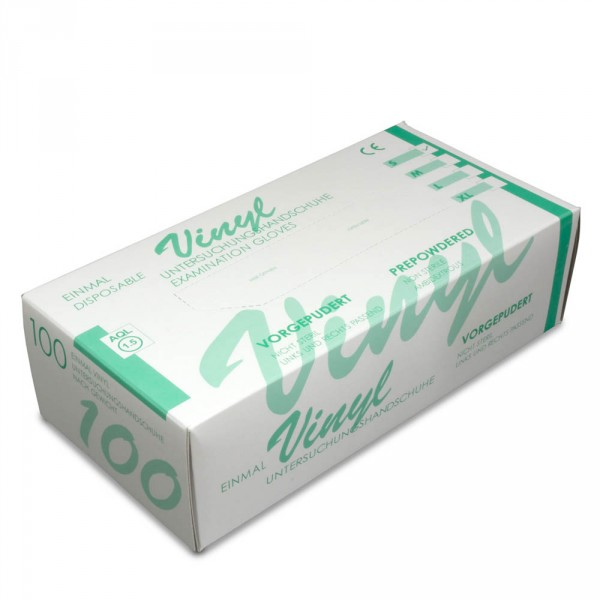 Vinyl gloves, slightly powdered, size M, 100 pieces