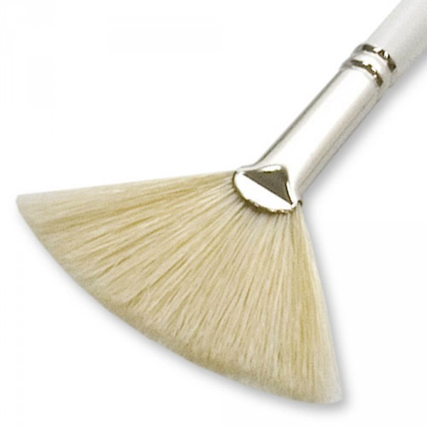 Fan brush, white, length approx. 20 cm (7.87 in)