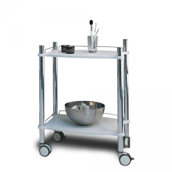 Equipment trolley LamicaDecor, 2 tiers, white/chrome